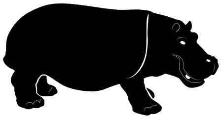 Black silhouette of a hippopotamus on a white background