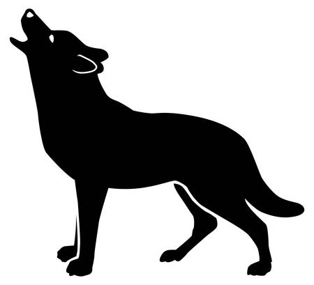 Black pattern of a wolf howling on a white background