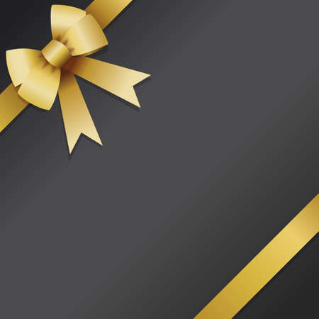 Gift card, loyalty card or voucher design with golden knot and ribbon on black background Ilustração