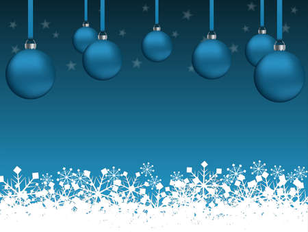 Illustration on the theme of Christmas and New Year with fir balls, snowflakes and stars