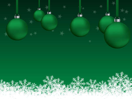 Green background for greeting card or Christmas party invitation with decorations, snowflakes and stars