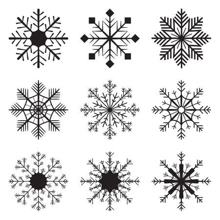 Set of 9 snowflake patterns - Ideal set for Christmas or New Year's theme design