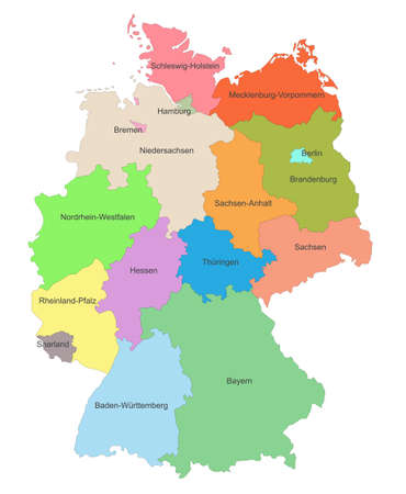 Map of Germany with representation of different states federated