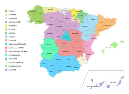 Map of Spain with details of provinces and communities