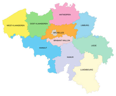 Map of Belgium with the different provinces