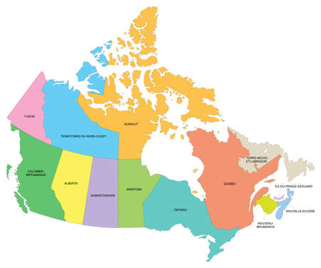 Map of Canada with details of provinces and territories