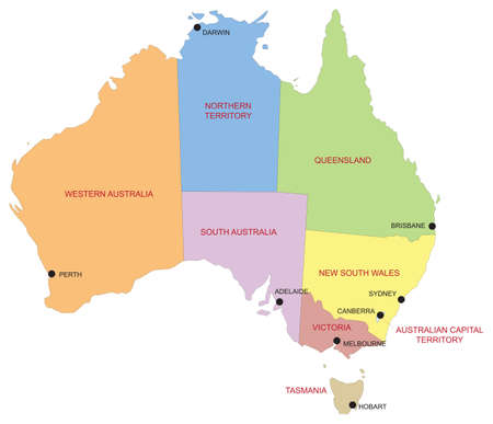 Australia map divided by regions and territories with main cities