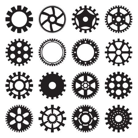 Ensemble de 16 modèles d'engrenages pour un design industriel ou steampunk Vecteurs