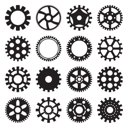 Set of 16 gear patterns for industrial or steampunk design Vector Illustratie