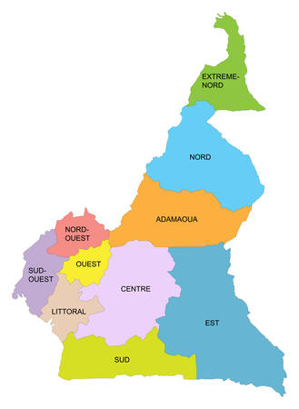 Cameroon map with detail of different regions