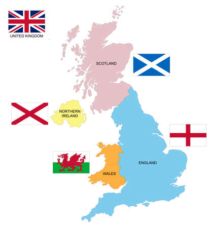 Map and flag of the United Kingdom with the 4 nations