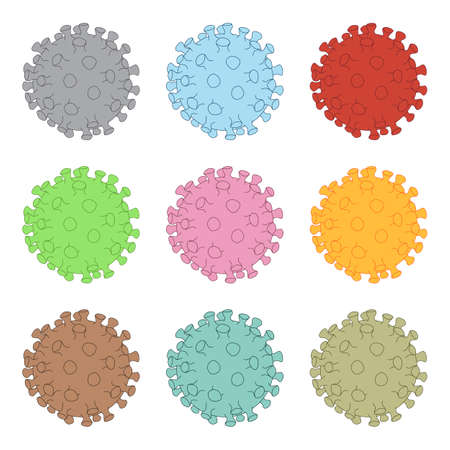 Illustration of a flu virus like coronavirus declined in several shades