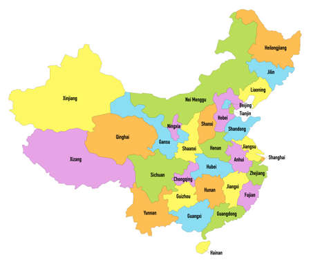 Map of the People's Republic of China with division by provinces, regions and municipalities Ilustração
