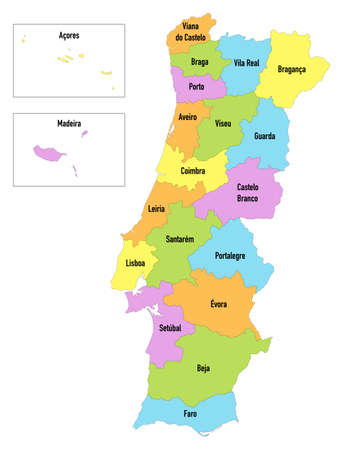 Map of Portugal divided by districts with Madeira and Azores Islands Ilustração