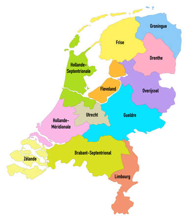 Map of the Netherlands with territorial organization by provinces Ilustração
