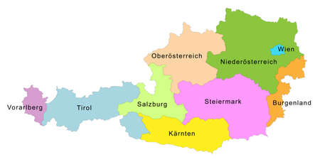 Map of Austria with representation of the nine states - State labels in German Ilustração