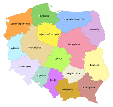 Map of Poland with representation of the provinces - Names of provinces in Polish