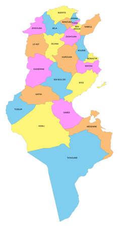 Map of Tunisia with representation of the governorates Ilustração