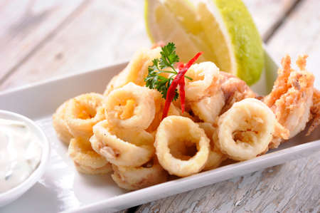 golden ring: Fried Calamari Rings Stock Photo