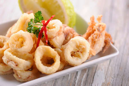 Fried Calamari Rings Фото со стока