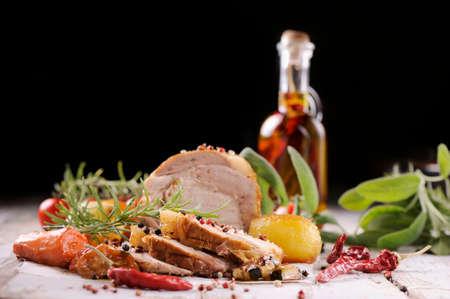 tenderloin: roasted pork tenderloin with vegetables