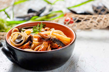 mussel: spaghetti and mussel Stock Photo