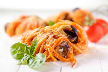 aubergine: Aubergine spaghetti