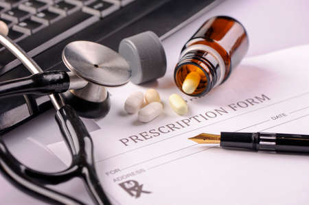 rx: RX  prescription form and stethoscope