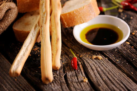 Italian food appetizer of bread olive oil and balsamic vinegar Standard-Bild