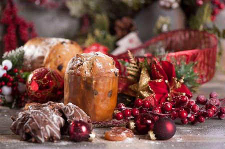 christmas meal: panettone Christmas cake