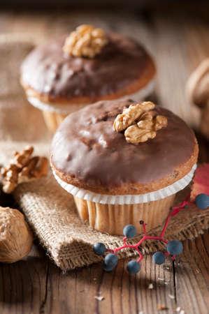 morning breakfast: chocolate muffin Stock Photo