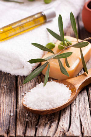 bathsalt: Natural spa setting with olive and olive oil products bath salt