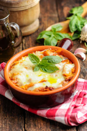 lunch tray: Lasagna Stock Photo