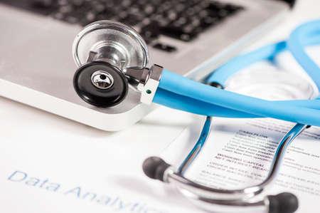 antivirus software: Stethoscope on laptop keyboard