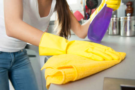 Top Woman Cleaning The Counter In The Kitchen Photo With Kitchen Counter  Cleaner