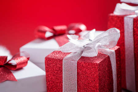 three gift boxes: Christmas gift