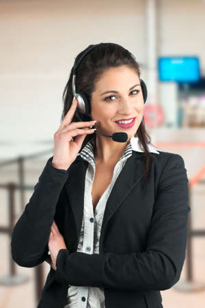 on call: Customer Representative with headset during a telephone conversation Stock Photo