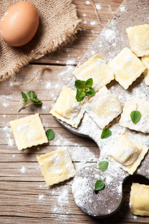 ricotta cheese: ravioli whit ricotta cheese Stock Photo