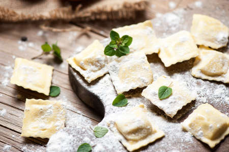 whit: ravioli whit ricotta cheese Stock Photo