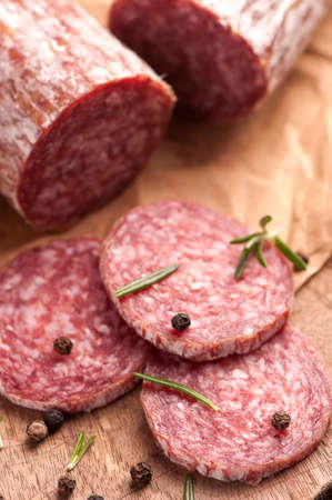 air dried salami: Salami Stock Photo