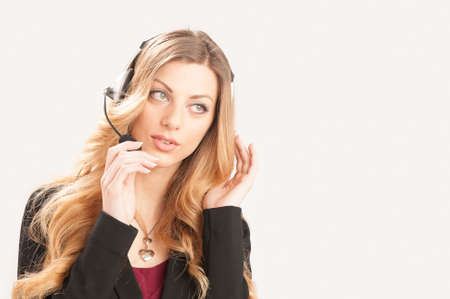 customer support: Female customer support phone operator in headset