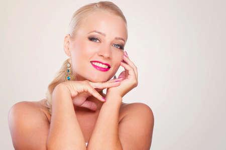 earing: Beautiful girl blonde