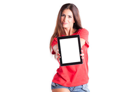 boxing day: Young woman showing a tablet PC. Your text Stock Photo
