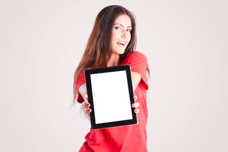 boxing day sale: Young woman showing a tablet PC. Your text Stock Photo