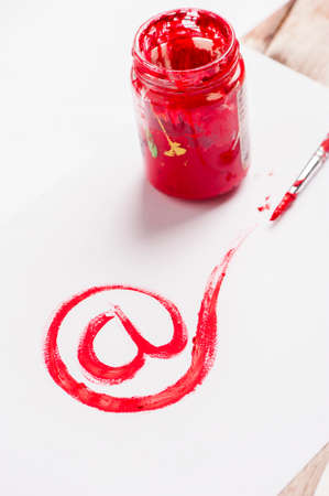 mail sign drawing with red paint. Web concept Stock Photo