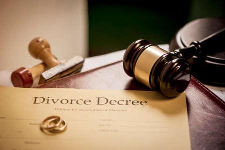 decree: Divorce decree and wooden gavel Stock Photo