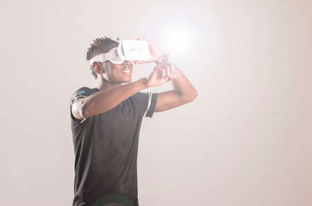 breaking new ground: Young man using 3D Virtual Reality Simulator