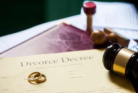 Divorce decree, gavel and folder