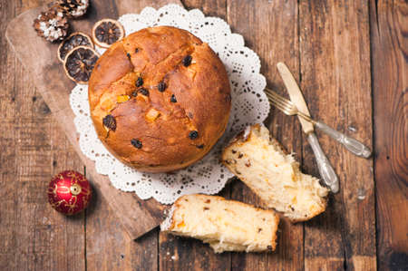 Homemade Panettone. Tradidional Italian Christmas Cake Stock Photo - 68185998