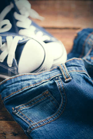 sneakers and blue jeans Stock Photo